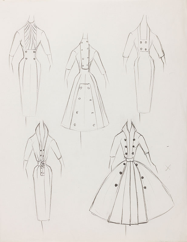 Pierre balmain atelier of dress design pencil 1952 10 5x8 25 inches