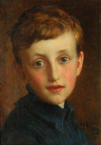 "Frederick George Cotman (1850-1920) Head of a boy, traditionally identified as the artist's son. Oil on millboard. 14"" x 10"". Signed and dated, 1902. - 15-cotman-85436"