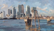 Canary Wharf from Delta wharf, Greenwich. 2009.