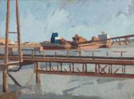 Dredger-with-gantry,-Murphy's-Wharf