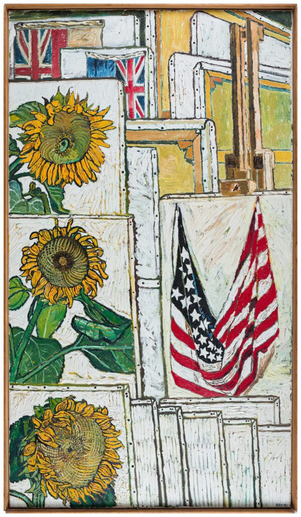 BRATBY John R.A. (1928-1992) - Sunflowers and Flags.