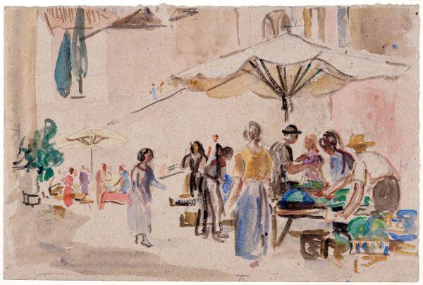 HATCH Ethel (1869-1975) - A street market, Italy.