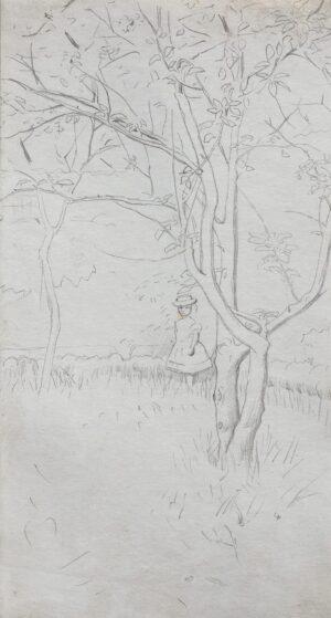 KEENE Charles (1823-1891) - Child beneath a fruit tree.
