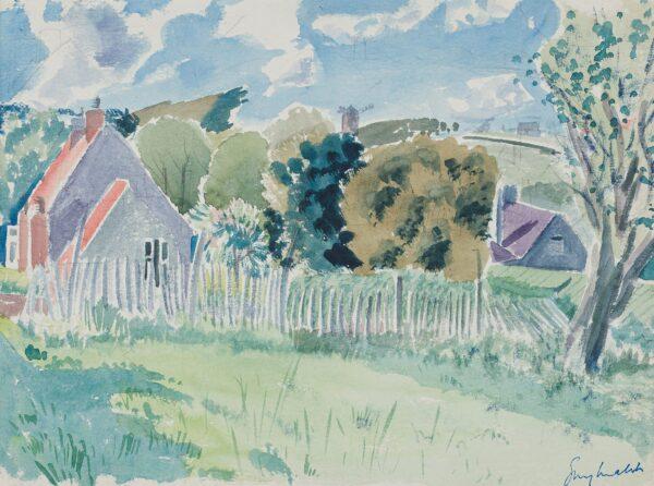 MALET Guy Seymour Warre (1900-1973) - Landscape, possibly near Rye Watercolour.