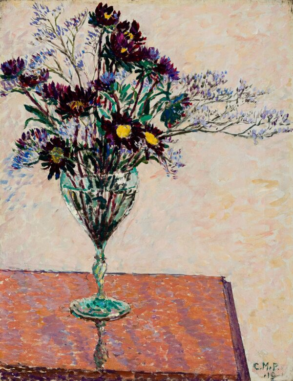 PEARCE Charles Maresco N.E.A.C. L.G. (1874-1964) - Sea lavender and chrysanthemums in a glass.
