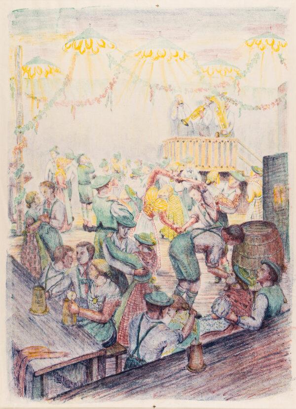 WILLIAMS Jolan Polatschek (1908-1988) - Bavarian Beer Hall Lithograph.