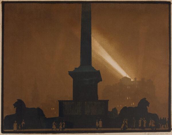 VERPILLEUX Antoine Emile (1888-1964) - 'The Search Light, Trafalgar Square'.