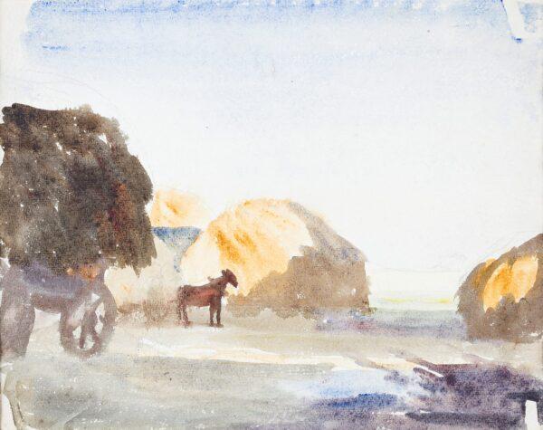 ALEXANDER Jean Dryden N.E.A.C (1911-1994) - Harvest stacks, Suffolk.