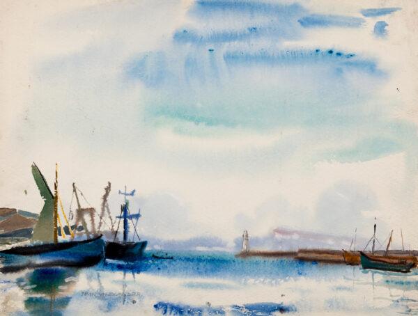 ALEXANDER Jean Dryden N.E.A.C (1911-1994) - 'Brixham Harbour after rain'.