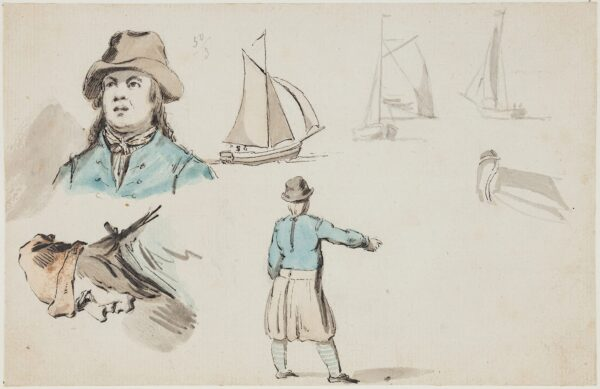 ANON. Formerly attributed to 'Alexander' (?William Alexander 1767-1816) - Studies of fishermen and fishing boats.