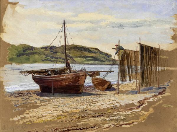 ALLAN Robert Weir R.W.S. (1851-1942) - Tighnabruaich, Kyles of Bute; drying fishing nets.