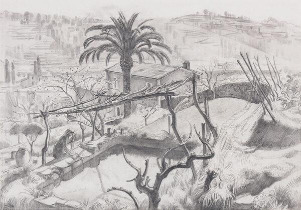 ALLINSON Adrian R.O.I. L.G. (1890-1959) - Study for 'Spring in St Paul', St Paul de Vence (Oil).
