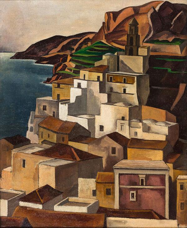 ALLINSON Adrian R.O.I. L.G. (1890-1959) - Mediterranean Village, possibly Mallorca.