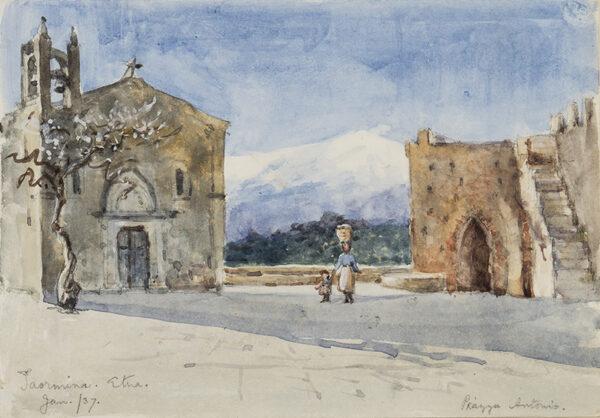ALSTON Charlotte M (fl.1900-1940) - Sicily: 'Etna (from) Piazza Antonio, Taormina'.