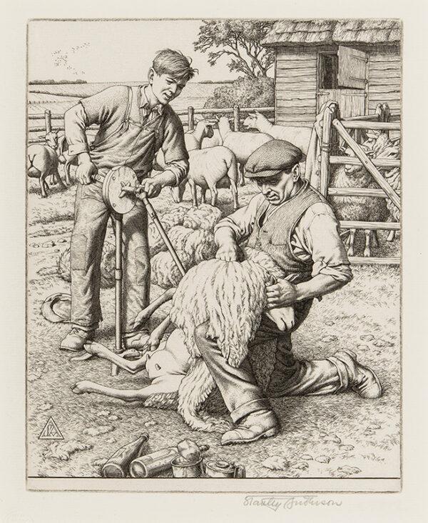 ANDERSON Stanley C.B.E. R.A. R.E. (1884-1966) - 'Sheep-shearing'.