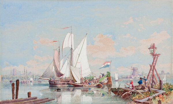 ANDREWS George Henry (1816-1898) - Barges on the river Scheldt.