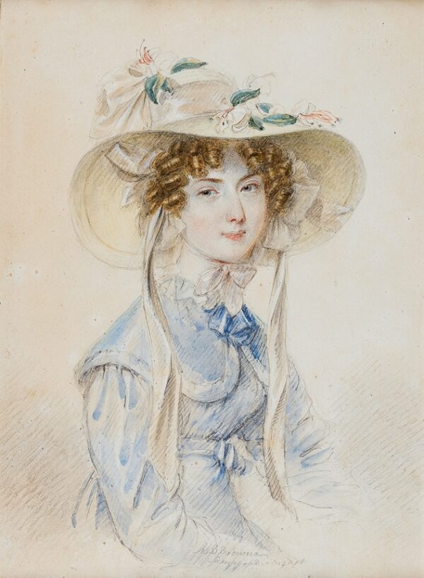 BROWNE B. (Circa 1820) - Portrait of a girl with lilies in her hat.