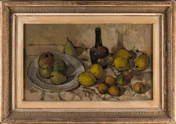 APPELBEE Leonard (1914-2000) - Still-life: fruit and bottle.