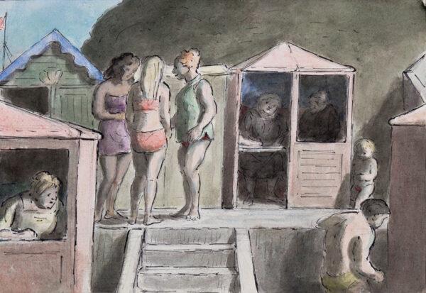 ARDIZZONE Edward C.B.E. R.A. (1900-1979) - 'Three Girls By The Beach Huts'.