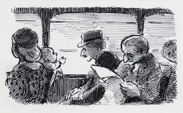 ARDIZZONE Edward C.B.E. R.A. (1900-1979) - Youth and Age, on a bus.