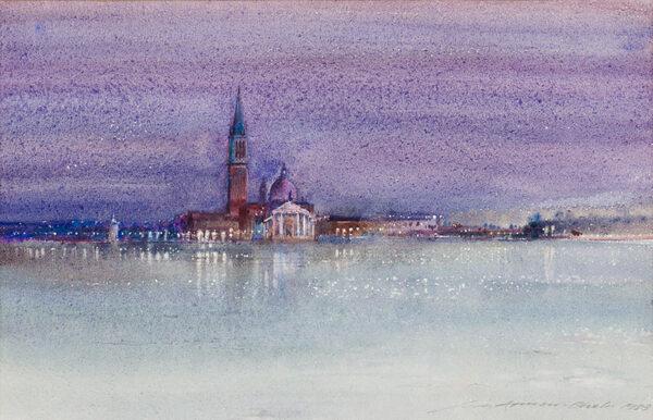 ARMOUR-CHELU Ian (1928-2000) - 'Night coming – light across the water'; San Giorgio, Venice.