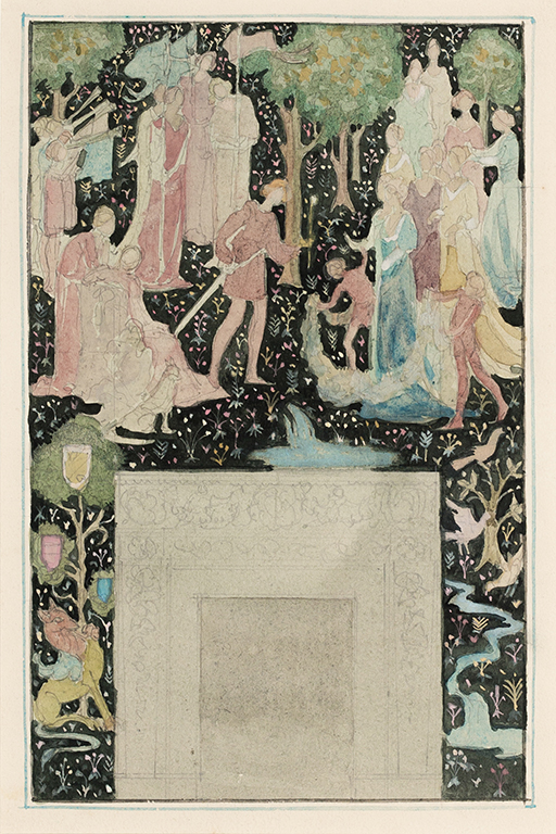 ASHLEY George Aumand (U.S.A. 1898-1989) - 'Aucassin and Nicolette', design for a dining-room mural in a Norman Manor House, Llewellyn Park, New York.
