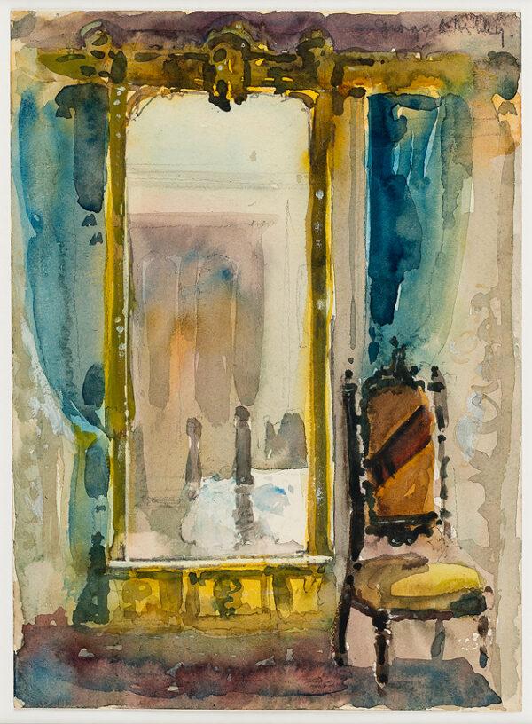 ASHLEY George Aumand (U.S.A. 1898-1989) - Reflected bedroom interior.