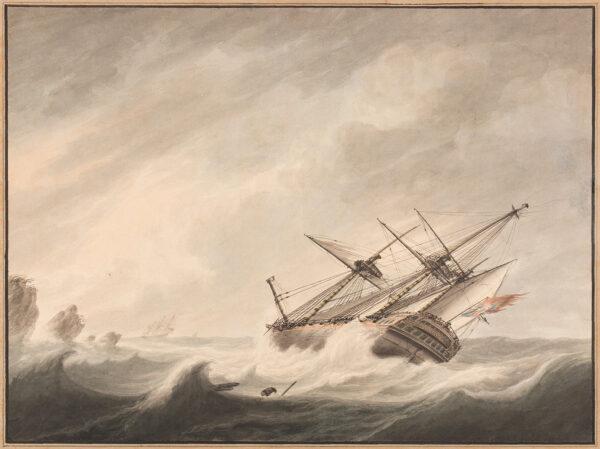 ATKINS Samuel (1760-1810) - 'A Man of War in Distress'.