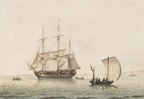 ATKINS Samuel (1760-1810) - A frigate at anchor.