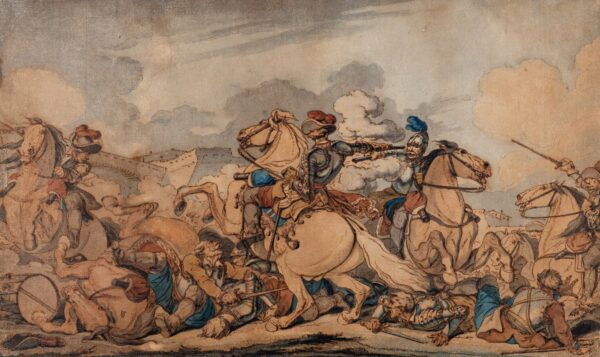 ATKINSON John Augustus O.W.S. (c.1775-c.1833) - A 17th Century battle scene.
