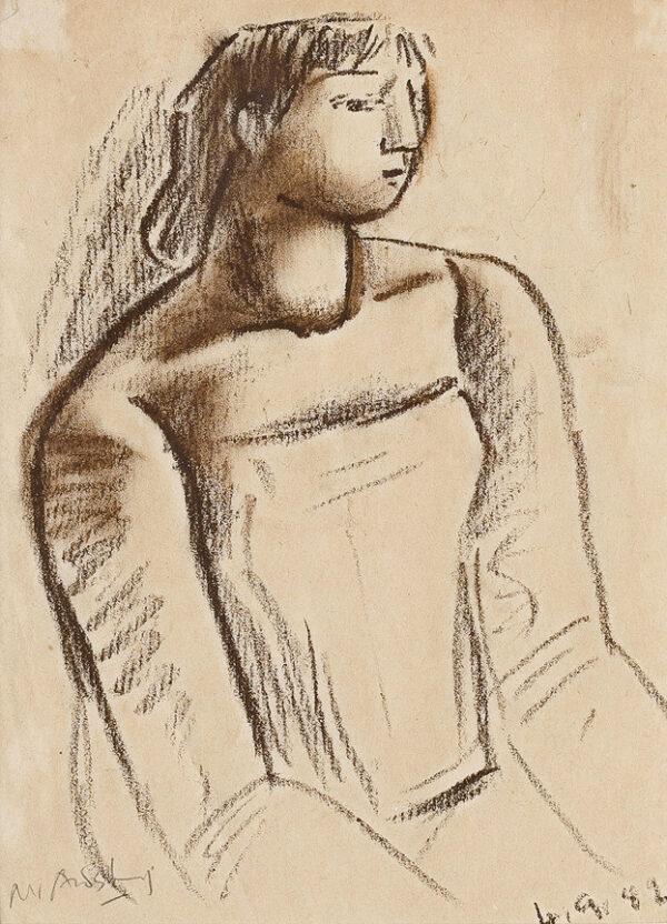 AUDSLEY Mary (1919-2008) - Seated Girl.