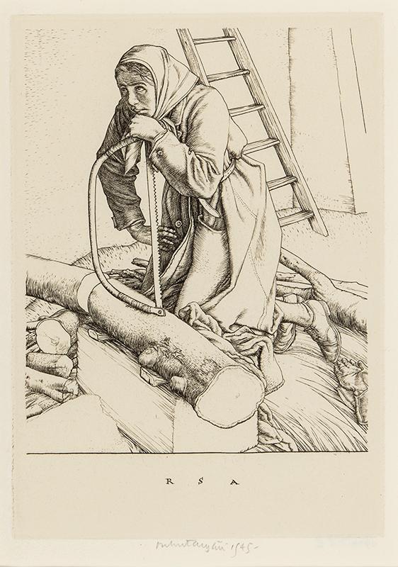 AUSTIN Robert Sargent R.A. R.E. R.W.S. (1895-1973) - Woman sawing.