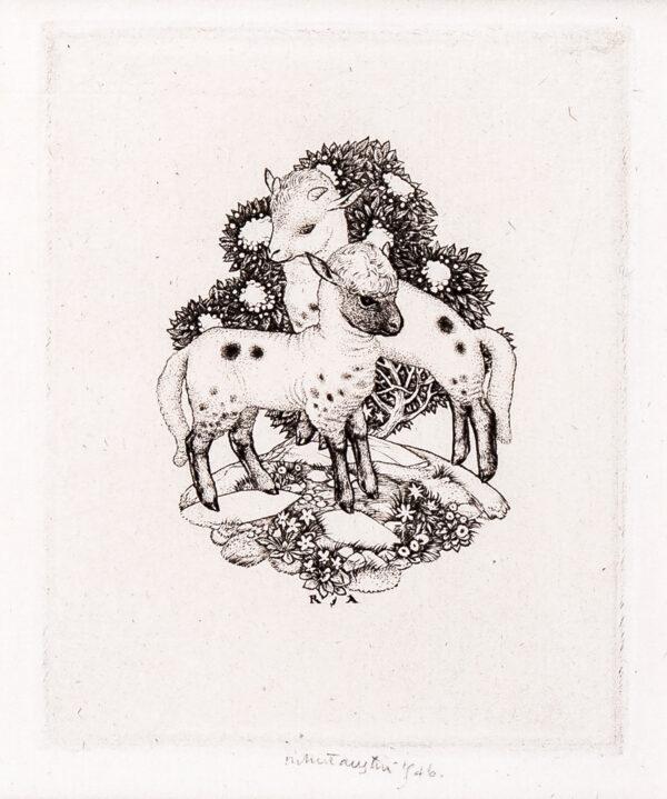 AUSTIN Robert Sargent R.A. R.E. R.W.S. (1895-1973) - Lambs.