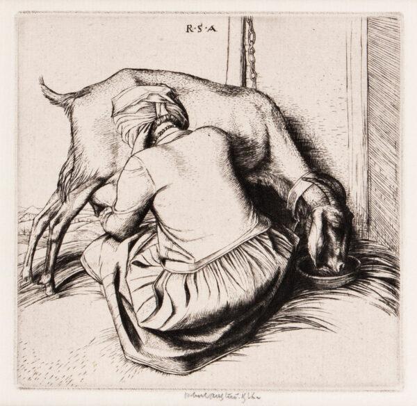 AUSTIN Robert Sargent R.A. R.E. R.W.S. (1895-1973) - Woman milking goat.
