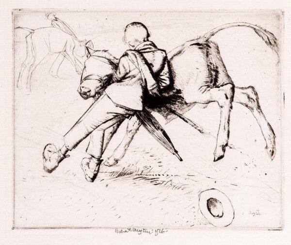 AUSTIN Robert Sargent R.A. R.E. R.W.S. (1895-1973) - 'Boy and Calf'.