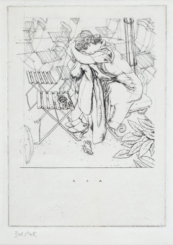 AUSTIN Robert Sargent R.A. R.E. R.W.S. (1895-1973) - Woman resting head on garden chair.