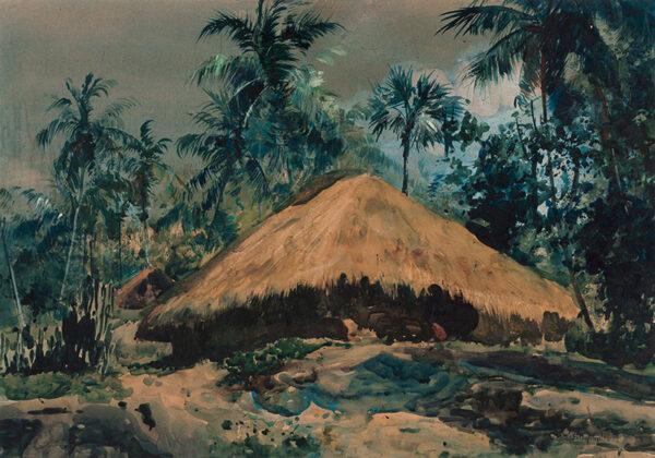 BAGDATOPOULOS William Spencer R.S.A. (1884-1965) - 'Hut, Malabar Coast'.