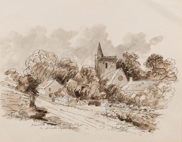 BARKER John Joseph (of Bath) (1824-1904) - 'Kewstoke Church and Village / Weston Super Mare'.
