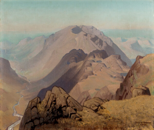 BANNER Delmar Harmood (1896-1983) - Lake District Western Fells, view from Green Gable: the Haystacks with Ennerdale to the left, Blackbeck Tarn middle right with Innominate Tarn behind, Burtness Comb to right and the east flank of Mellbreak falling away middle right.