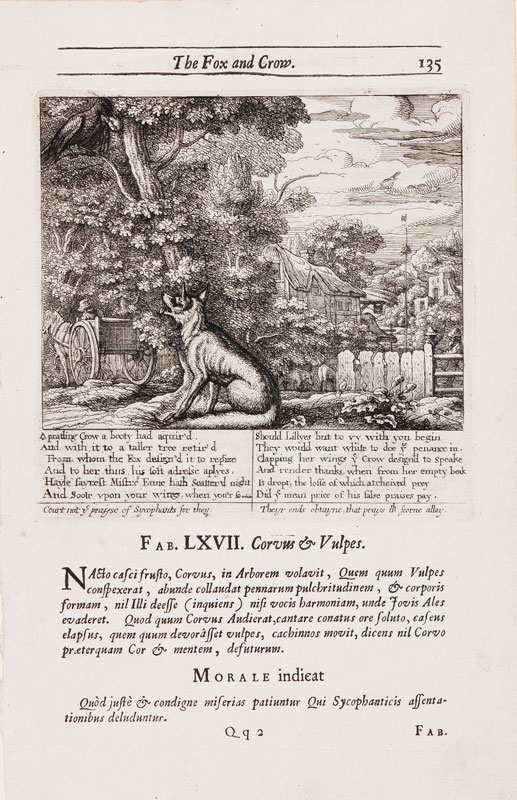 Francis BARLOW (c.1626-1704) - 'The Fox and Crow'.