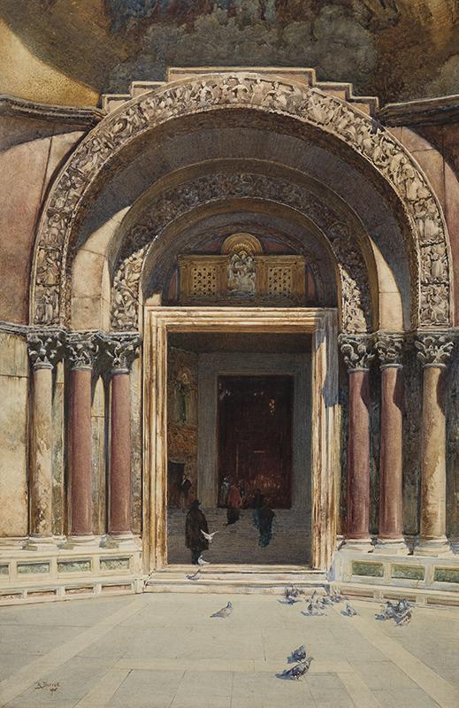 BARRATT Reginald R.W.S. (1861-1917) - 'West Doorway, St Marks, Venice'.
