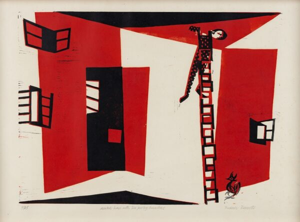 BARRETT Roderic (1920-2000) - 'Deserted house with two jeering characters'.