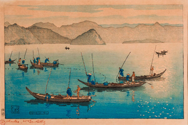BARTLETT Charles (1860-1940) - 'Ushibuse, Japan' also known as 'The Sleeping Buddha' or 'Fishing in the early morning'.