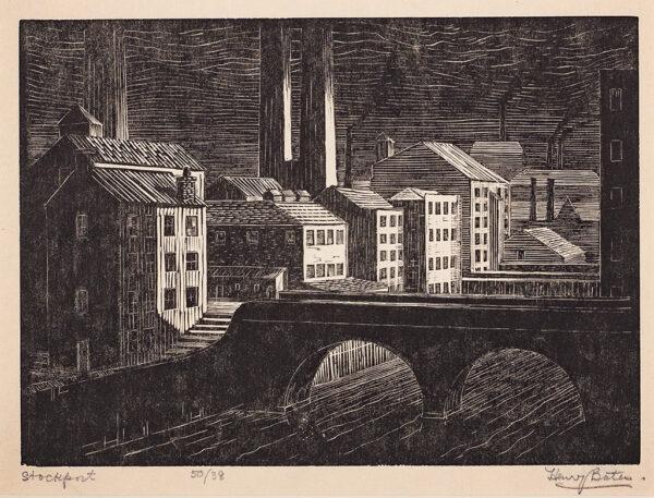 BATES Henry Edward (Exh: 1926-1939) - 'Stockport' Wood engraving.