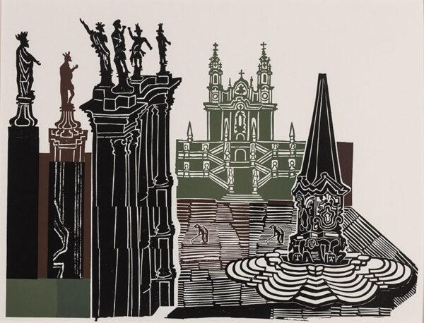 BAWDEN Edward C.B.E. R.A. (1903-1989) - 'Lamego': the Sanctuary of Nossa Senhora dos Remedios, Portugal.