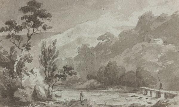 BECKER Ferdinand (Ex. Edmund) (fl.1790-1810) - 'At Capel Curig' Pencil, brush and wash.