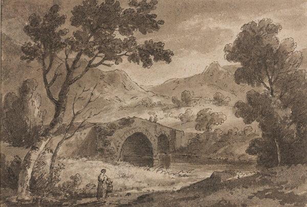 BECKER Ferdinand (Ex. Edmund) (fl.1790-1810) - A new stone bridge over the Llugwy 'At Carel Curig, 1811'.