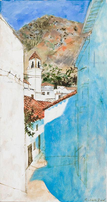 BEER Richard (1928-2017) - 'Spanish Village' Oil on canvas.