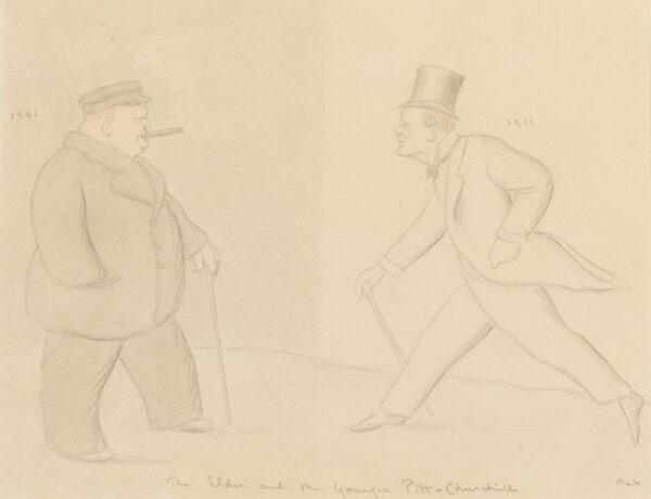 BEERBOHM Sir Max N.E.A.C (1872-1956) - 'The Elder and the Younger Pitt-Churchill, 1911-1941'.