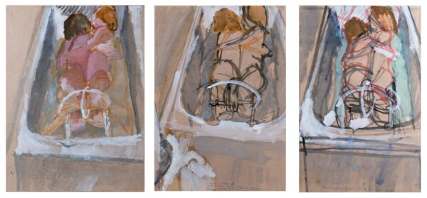 BEHRENS Tim (1937-2017) - Triptych: Bathing Figures: 'Preliminary design for a painting'.